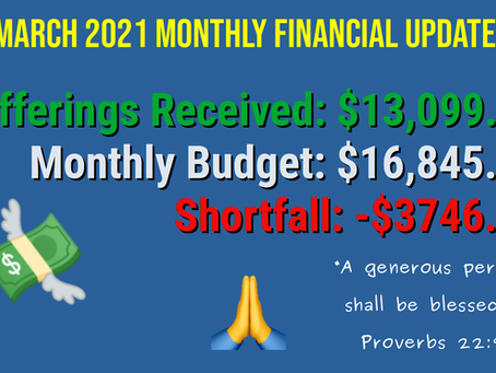 March 2021 Financial Update