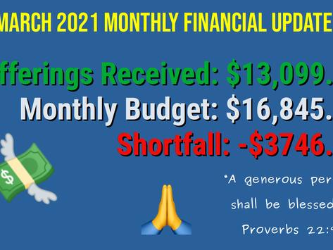 March 2021 Financial Update