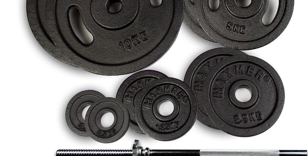 Set de Discos Barra y Mancuernas Hammer 53 Kg