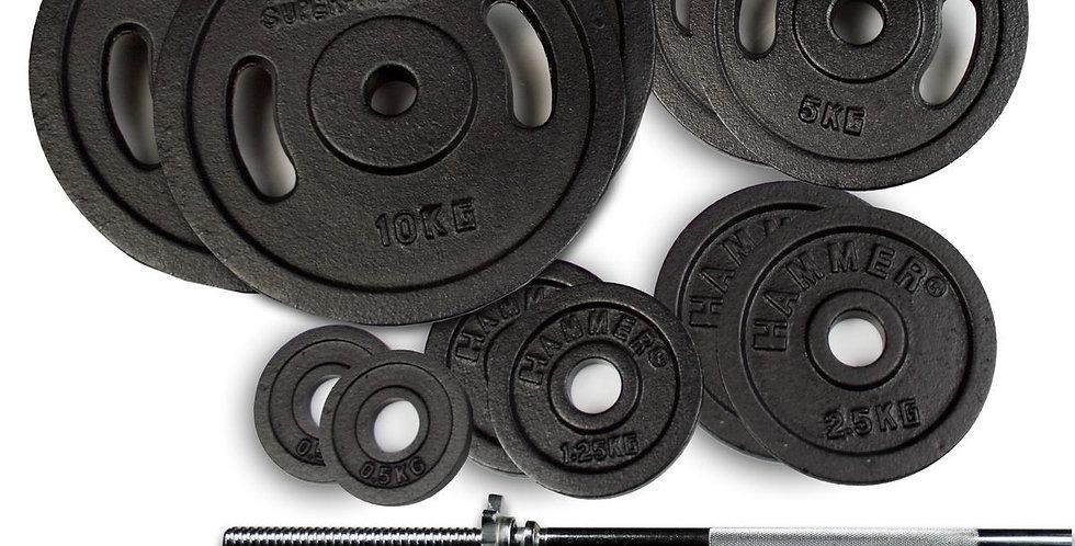 Set de Discos Barra y Mancuernas Hammer 73 Kg