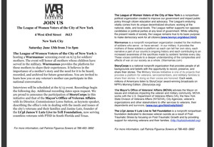 The league of Women Voters of Ny is hosting Warmamas, June 13th, 2015