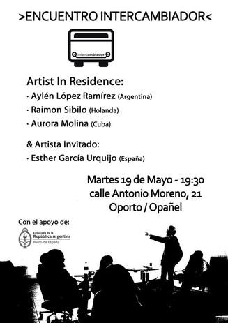 Encuentro de los artistas en residencia Arte Aylén LR (Argentina), Raimon Sibilo (Holanda), Aurora M