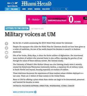 Military voices at UM, Patricia Figueroa Sowers, Director, Warmamas, Coral Gables