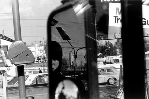 Lee Friedlander, Hillcrest (Filling Station, Rearview Mirror), New York, 1970