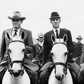 David Goldblatt, The commando of National Party supporters that escorted the late Dr. Hendrik Verwoerd to the party's 50th anniversary celebrations. The middle horseman in the front rank is Leon Wessels, who later became Deputy Minister of Law and Order in the National Party government. He was also the first senior member of that party to apologise for apartheid. De Wildt, Transvaal (North-West Province). , 31 October 1964