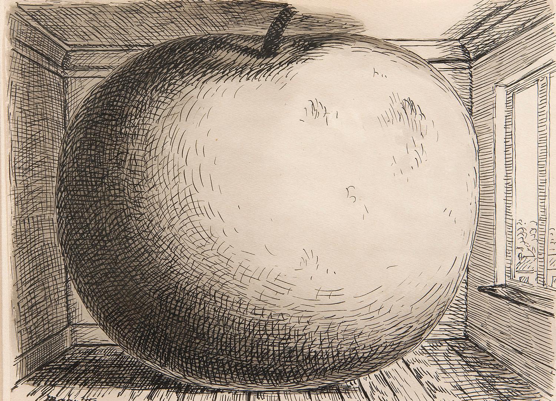 """René Magritte (Belgian, 1898-1967), Étude pour """"La Chambre d'Écoute"""", 1957"""