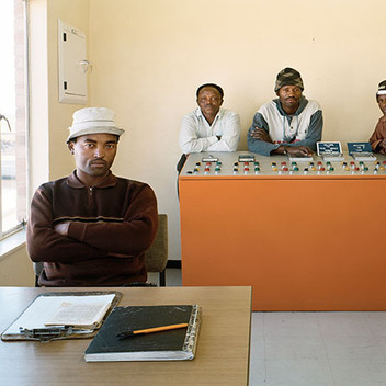 David Goldblatt, Operators of the Theunissen sewage Treatment Plant, Seliane Vincent, Jonas Togo, Piet Jacobs, Albert Lekauta. Masilonyana Local Municipality, Theunissen, Free State. , 12 August 2004