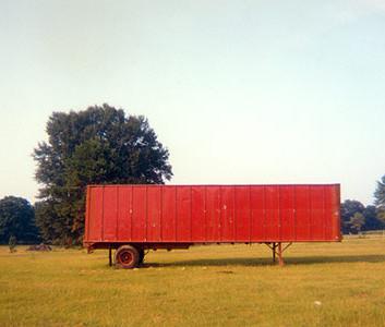 William Christenberry, Red Trailer, Livingston, Alabama, 1976