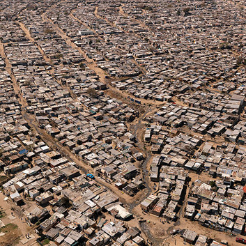 David Goldblatt, Shacks in Diepsloot, a township of informal and formal housing north of the city, established in 1995 as a 'temporary' measure for people removed from other townships. It is now home - whether 'temporary' or otherwise is unclear - to about 150,000 people. , 15 August 2009