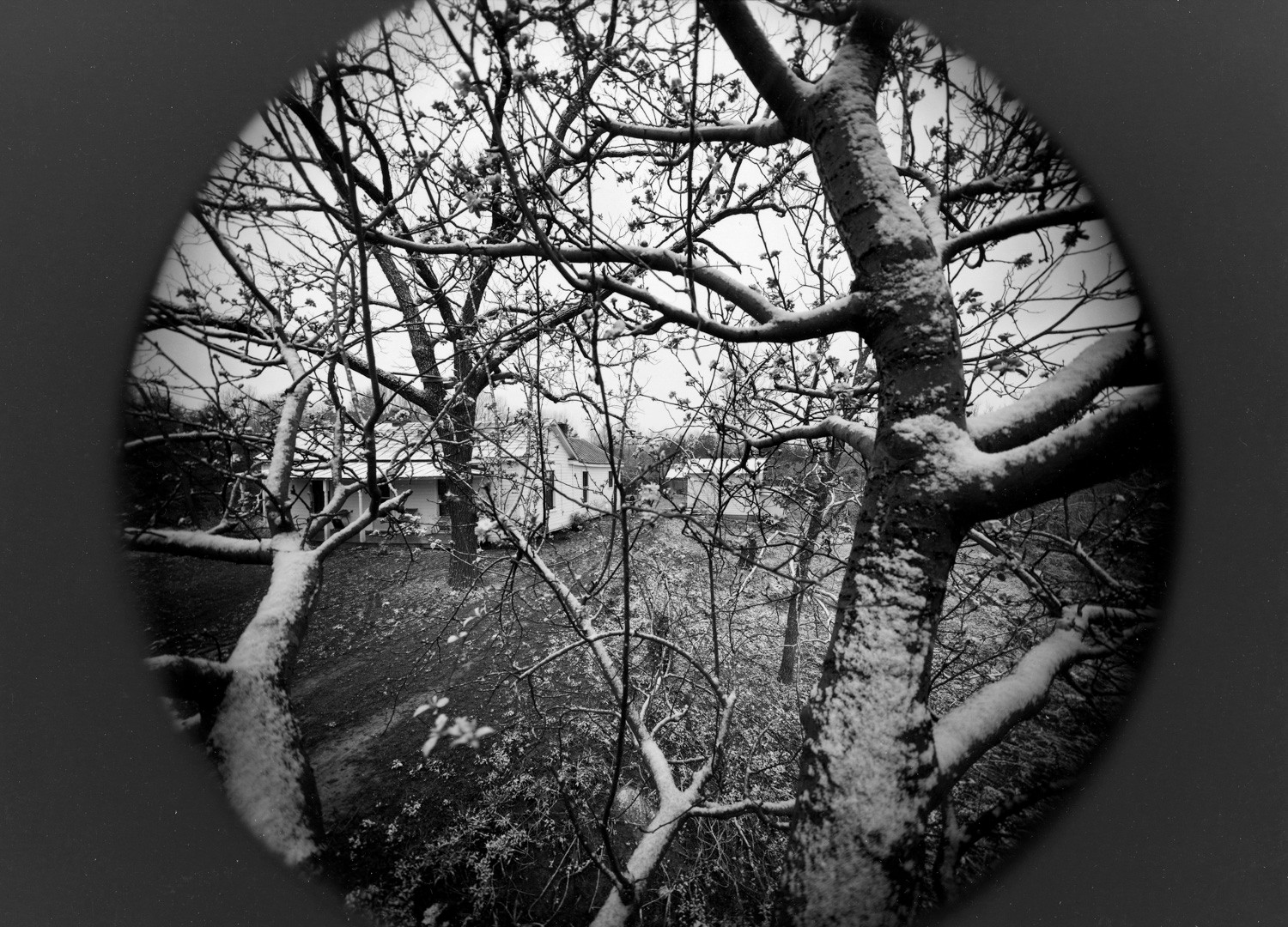 Emmet Gowin, Spring snow, view of Rennie Booher's house, Danville, Virginia, 1974