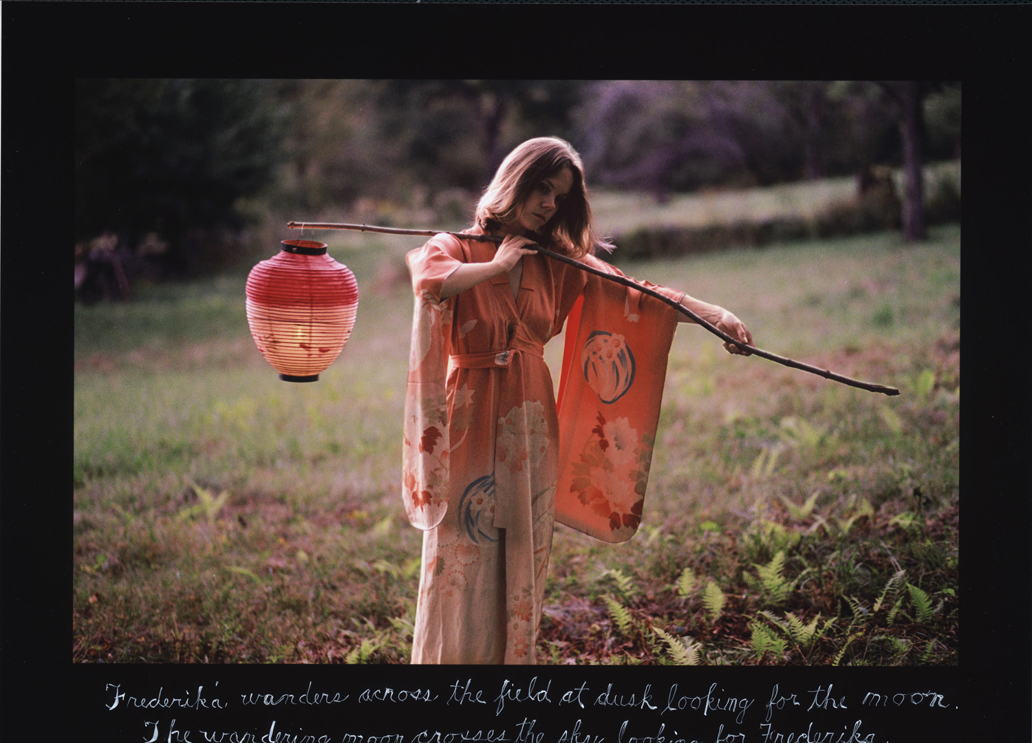 Duane Michals, Frederika Wanders Across the Field at Dusk Looking for the Moon, September 27, 2005
