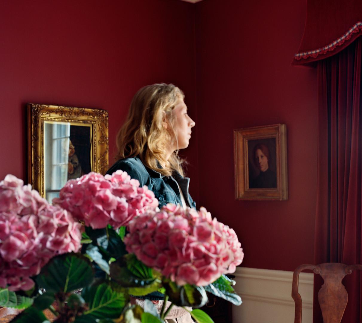 Jocelyn Lee, Untitled (Lauren and cut hydrangeas in dining room), 2007