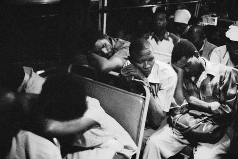 David Goldblatt, 8:35 pm. Going home: Marabastad - Waterval route. The most restful time on the bus is on the long run between Pretoria and the turnoff into the resettlement camps of KwaNdebele; the road is good and stops infrequent, 1983