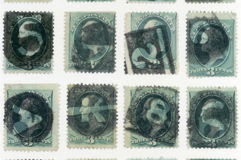Richard Benson, sixteen stamps with letter and number fancy cancels, 2013