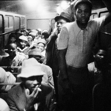 David Goldblatt, 3:15 AM GOING TO WORK: The Wolwekraal-Marabastad bus is licensed to carry 62 sitting and 29 standing passengers. , 1983