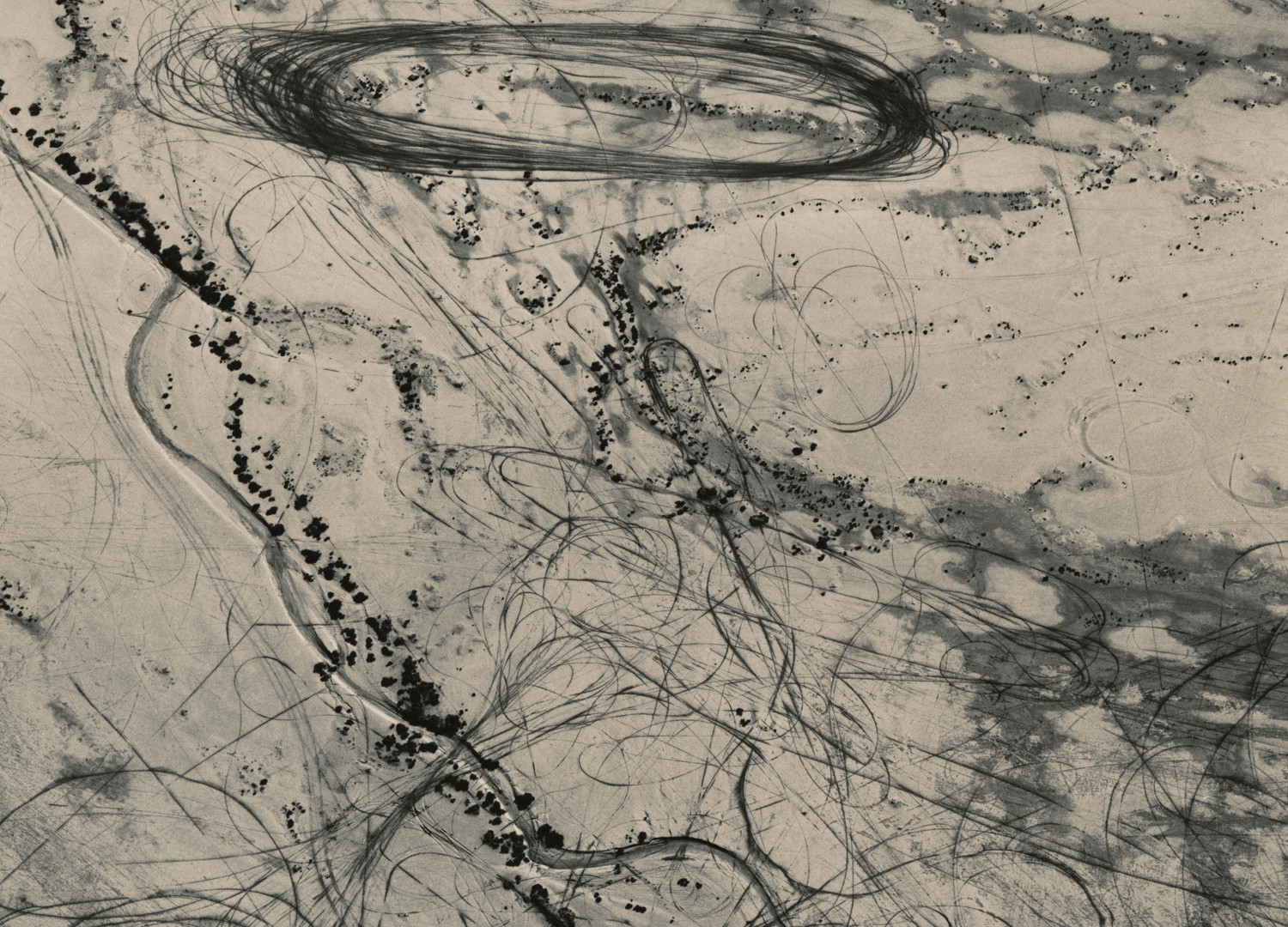 Emmet Gowin, Off Road Traffic Pattern along the Northwest Shore of the Great Salt Lake, Utah , 1988