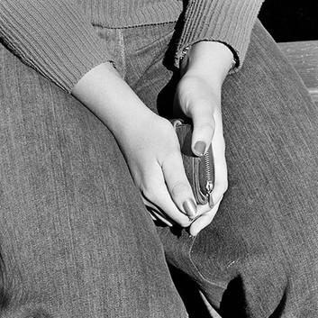 David Goldblatt, Girl with purse. Joubert Park, Johannesburg., 1975