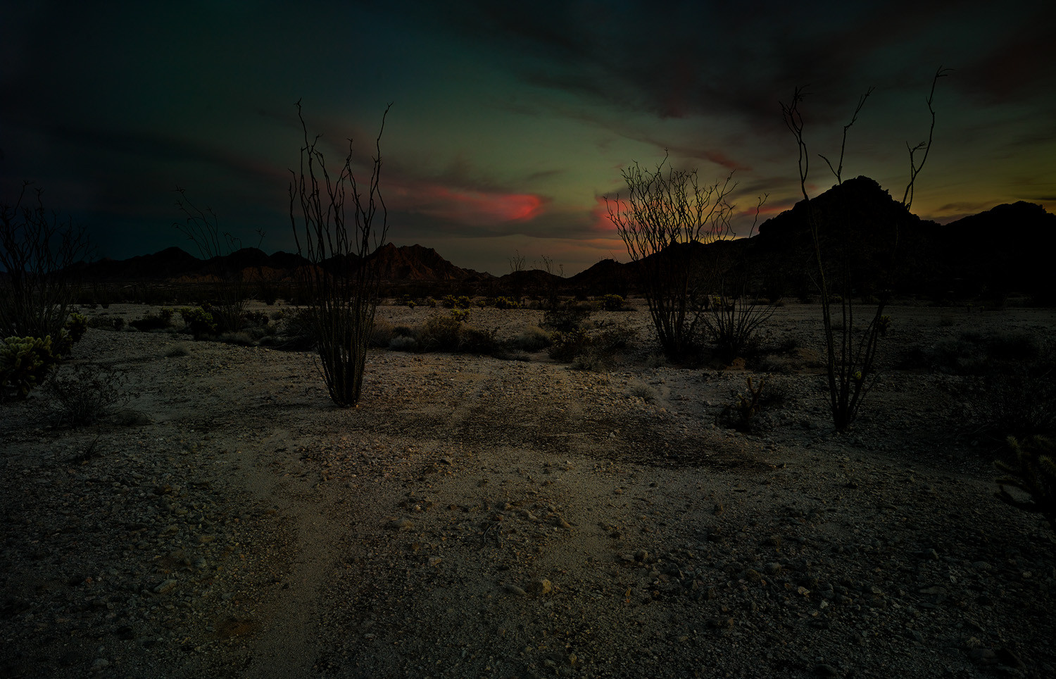 Mark Klett, Slight track with red clouds at dusk, Copper Mountains, 2013