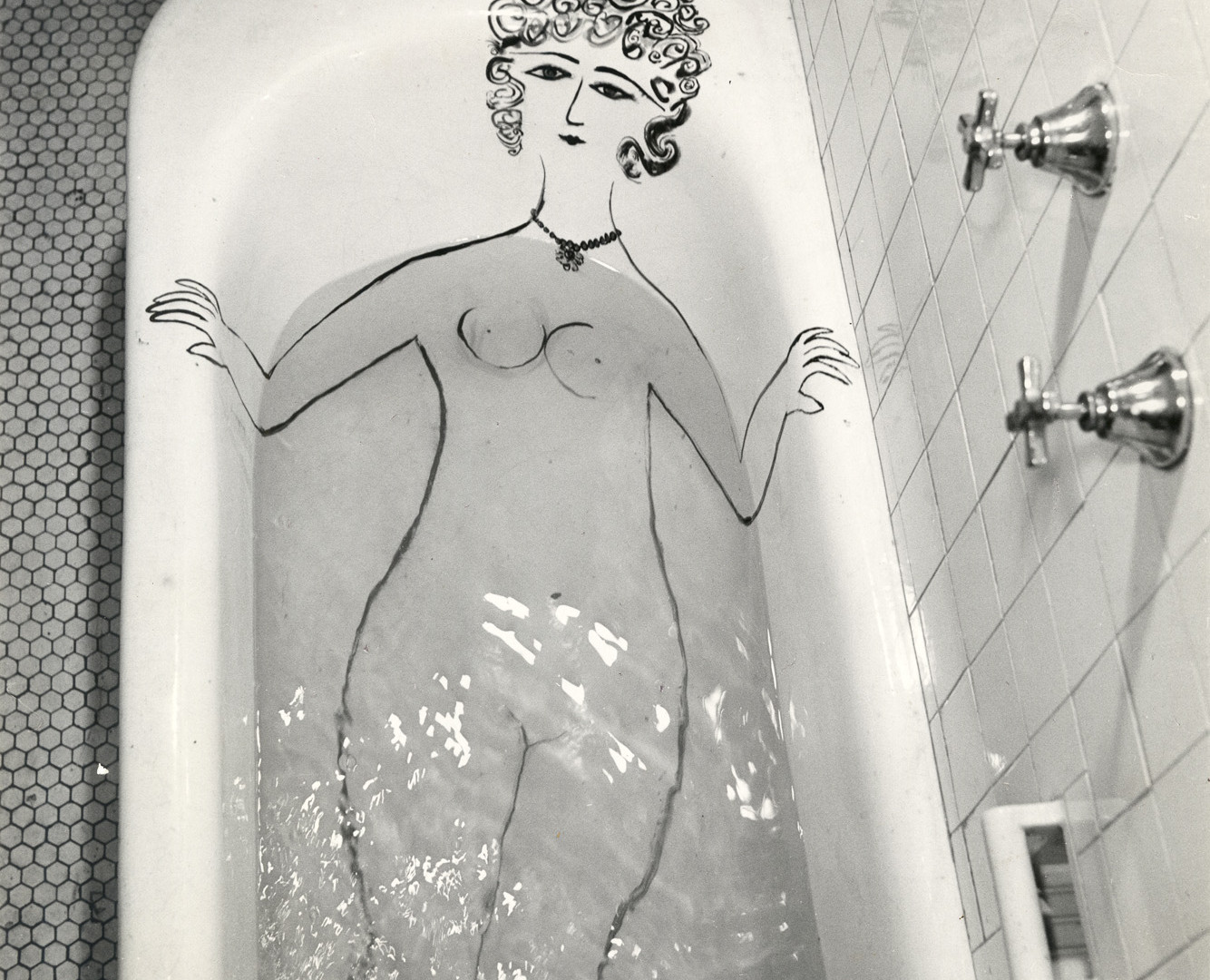 Saul Steinberg, Girl in Tub, 1949