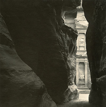 Emmet Gowin, El Khazneh From the Siq, Petra, Jordan, 1985