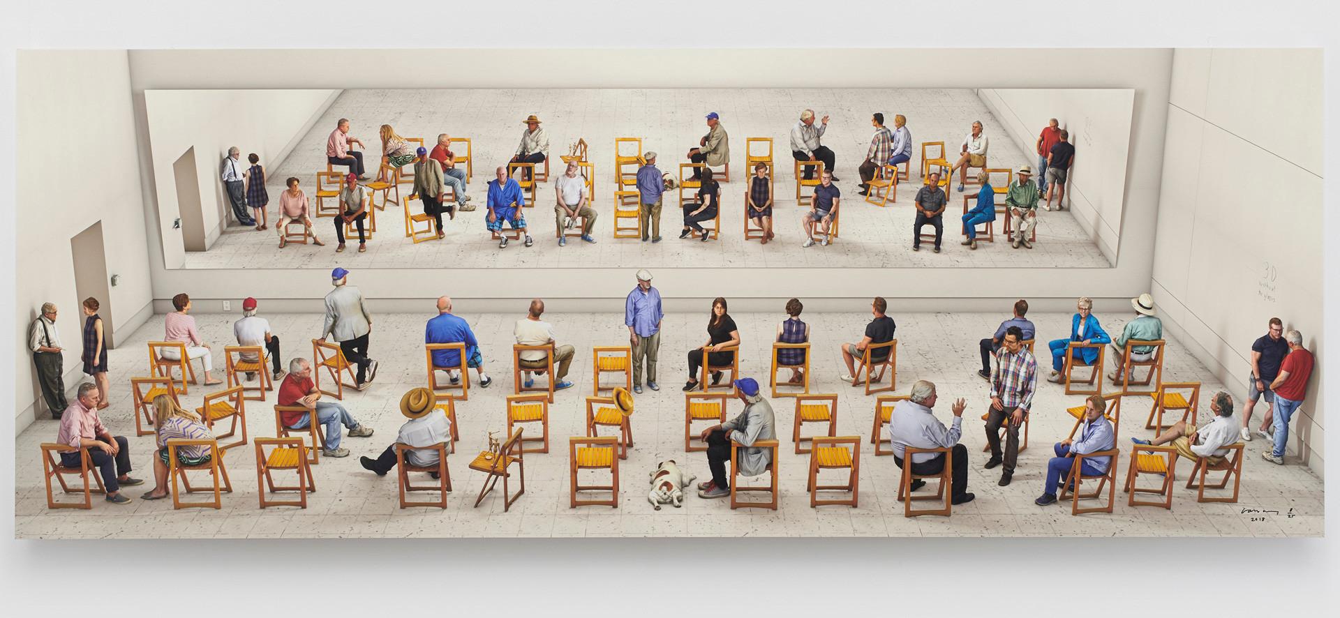 David Hockney, Pictured Gathering with Mirror, 2018