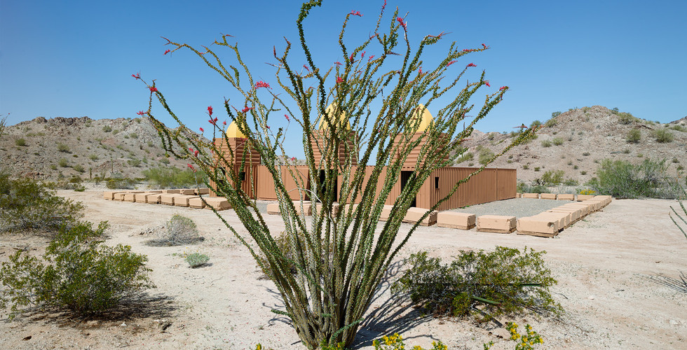 Mark Klett, Ocotillo and Mosque made from shipping containers, Combat Village, Marine Training Camp in the Copper Mountains, 2013