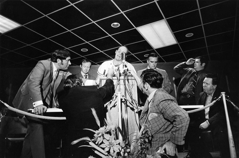 Tod Papageorge, Press conference, World Series (Cincinnati vs. Baltimore), Memorial Stadium, Baltimore, October 14, 1970