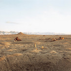 Richard Misrach, Bomb, Destroyed Vehicle and Lone Rock, 1987