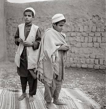 """Fazal Sheikh, Osman and Farid, blind qari (""""one who knows the Koran by heart"""") brothers, Afghan refugee village, Nasirbagh, North Western Frontier Province, Pakistan, 1997"""