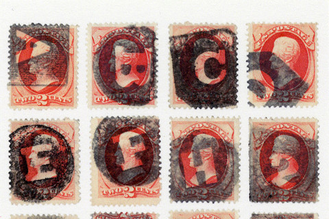 Richard Benson, sixteen stamps with fancy letter cancels, 2013