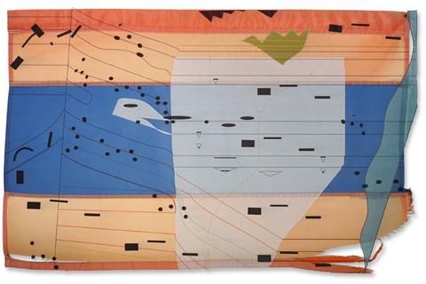 Guillermo Galindo, Bandera con rastreo de sarape / Sarape Tracking Flag, 2014