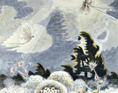 Charles Burchfield (1893-1967), Dandelion Seed Heads and the Moon, 1961-65