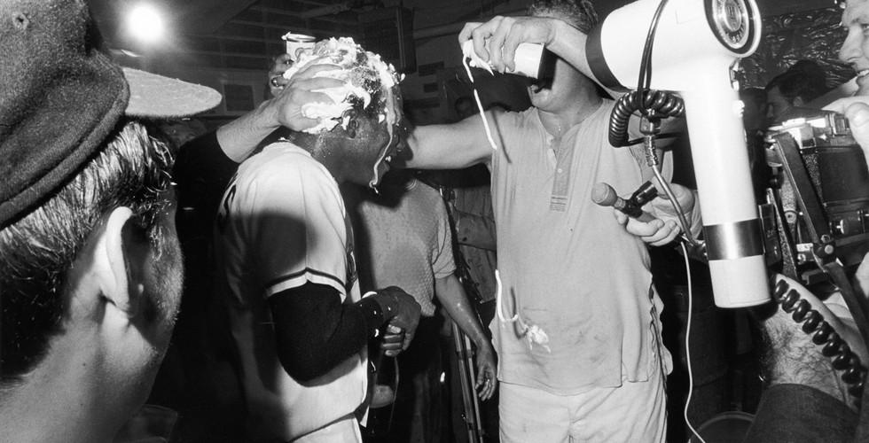 Tod Papageorge, Winning locker room, World Series (Cincinnati vs. Baltimore), Memorial Stadium, Baltimore, October 15, 1970