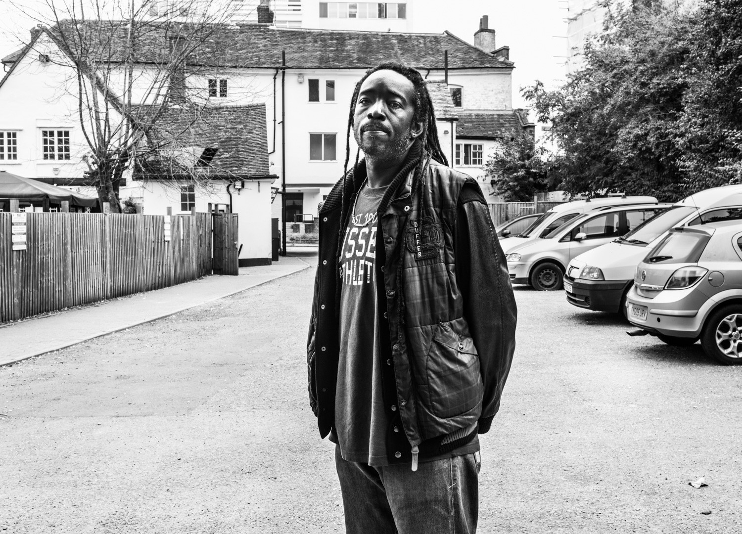 David Goldblatt, Richi Ellis served 11 years after being convicted of joint enterprise for a murder that happened in this yard. He was 600 meters away at the time of the victim's death. Harrow, Middlesex, 17 September 2014