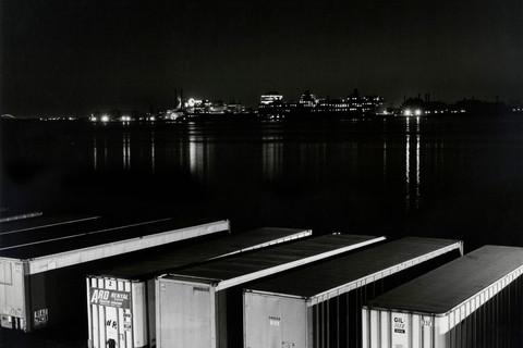 Peter Hujar, New Jersey Skyline, Hudson River, Truck Trailers, 1976