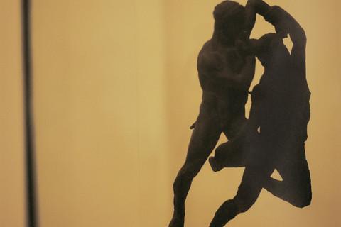 Yto Barrada, Theseus Slaying Minotaur, bronze sculpture, 2nd and 1st century BC, Lixus, Archeology Museum Rabat, Morocco, 2013-2015