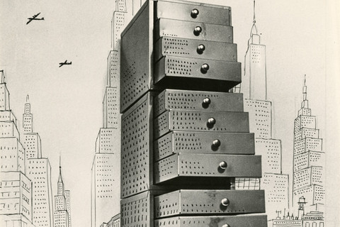 Saul Steinberg, Chest of Drawers Cityscape, 1950
