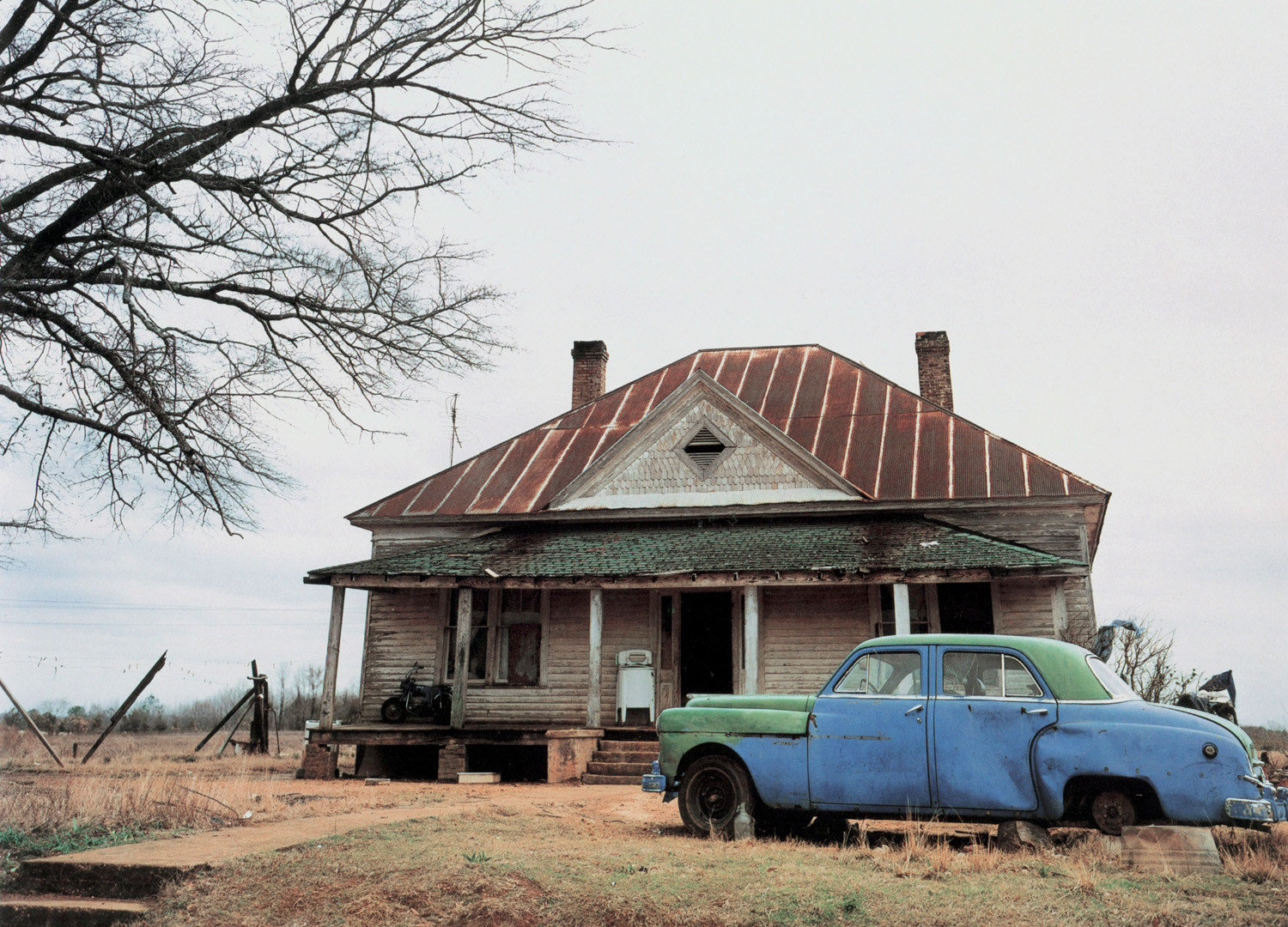 William Christenberry, House and Car, near Akron, Alabama, 1981