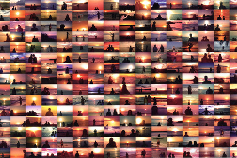 Penelope Umbrico, Sunset Portraits from 9,623,557 Flickr Sunset Pictures on 8/22/11, 2011