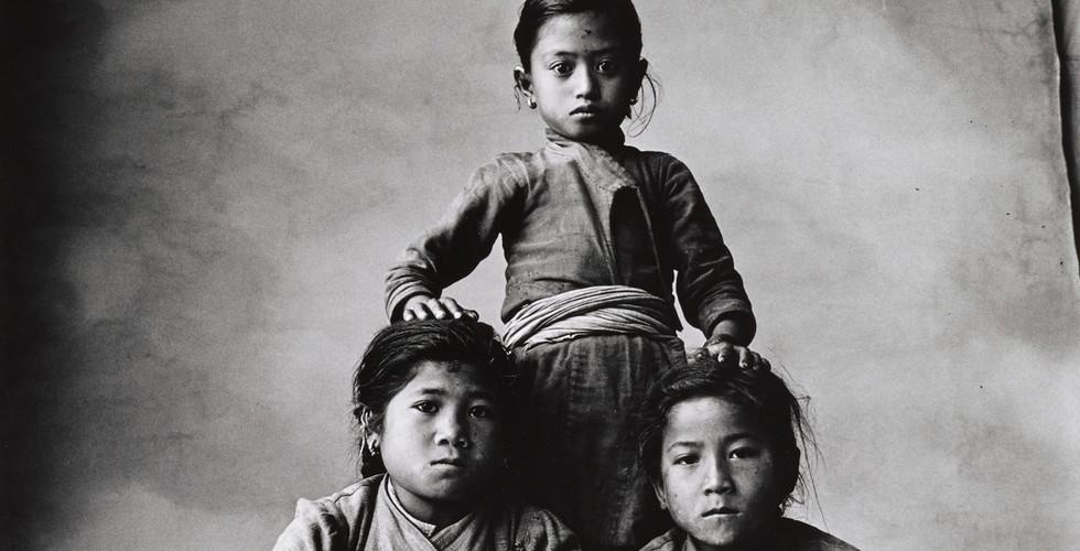 Irving Penn, Three Sisters, One Standing, Nepal, 1967