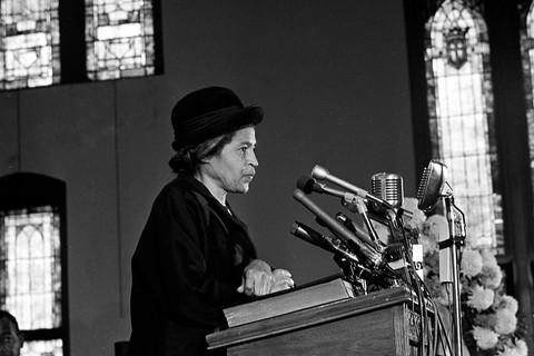 AP Photo/Joe Holloway, Jr., Rosa Parks speaks at Ebenezer Baptist Church in Atlanta, Ga., Jan. 15, 1969