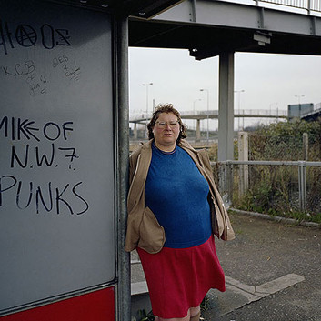 Paul Graham, Woman at Bus Stop, Mill Hill, North London, November, 1982