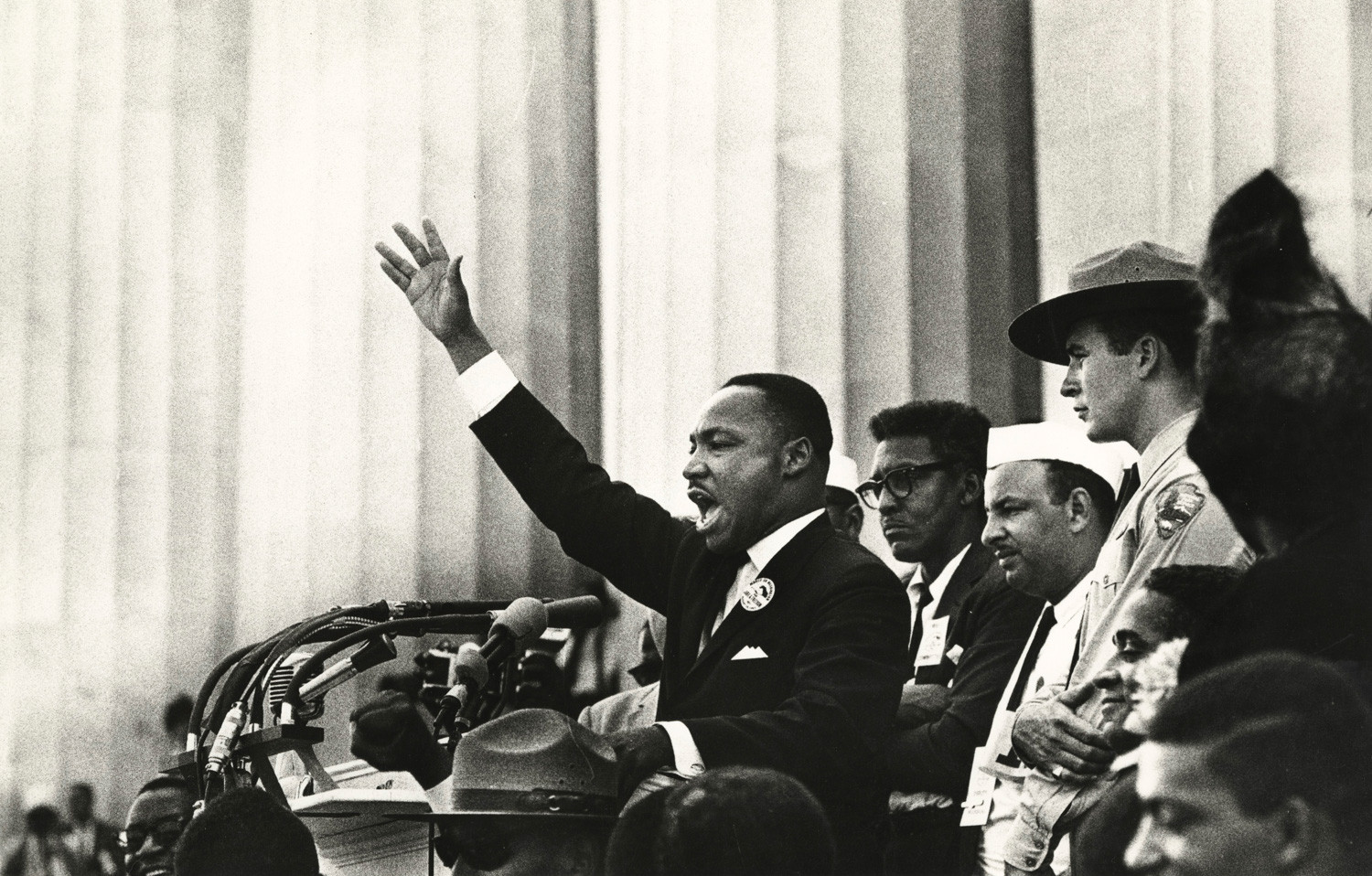 "Bob Adelman, King ends his speech with the words from the old Negro spiritual, ""Free at last! Free at last! Thank God Almighty, we are free at last!"", Washington, D.C., 1963"