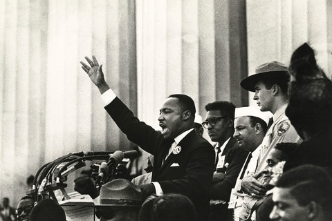 """Bob Adelman, King ends his speech with the words from the old Negro spiritual, """"Free at last! Free at last! Thank God Almighty, we are free at last!"""", Washington, D.C., 1963"""