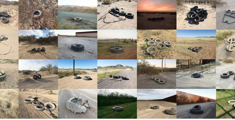 Richard Misrach, Tire drags used along the border from the Pacific Ocean to the Gulf of Mexico / Arrastres de llantas utilizados a lo largo de la frontera desde el océano Pacífico hasta el golfo de México, 2009-2015