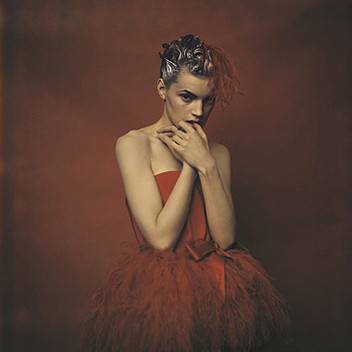 Paolo Roversi, Guinevere in red dress by Yves Saint Laurent, Paris, 1996
