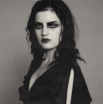 Paolo Roversi, Guinevere with black eyes, black lips and a black dress, Paris, 1996