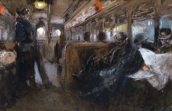 Everett Shinn (1876-1953), Sixth Avenue Elevated After Midnight, 1899