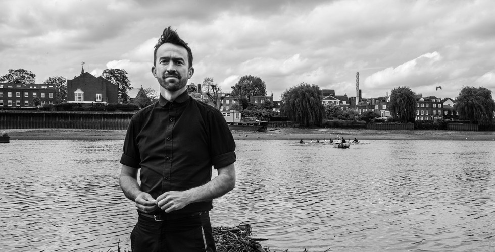 David Goldblatt, Trenton Oldfield near the point on the Thames from which he dived and disrupted the Oxford-Cambridge boat race, 11 May 2015