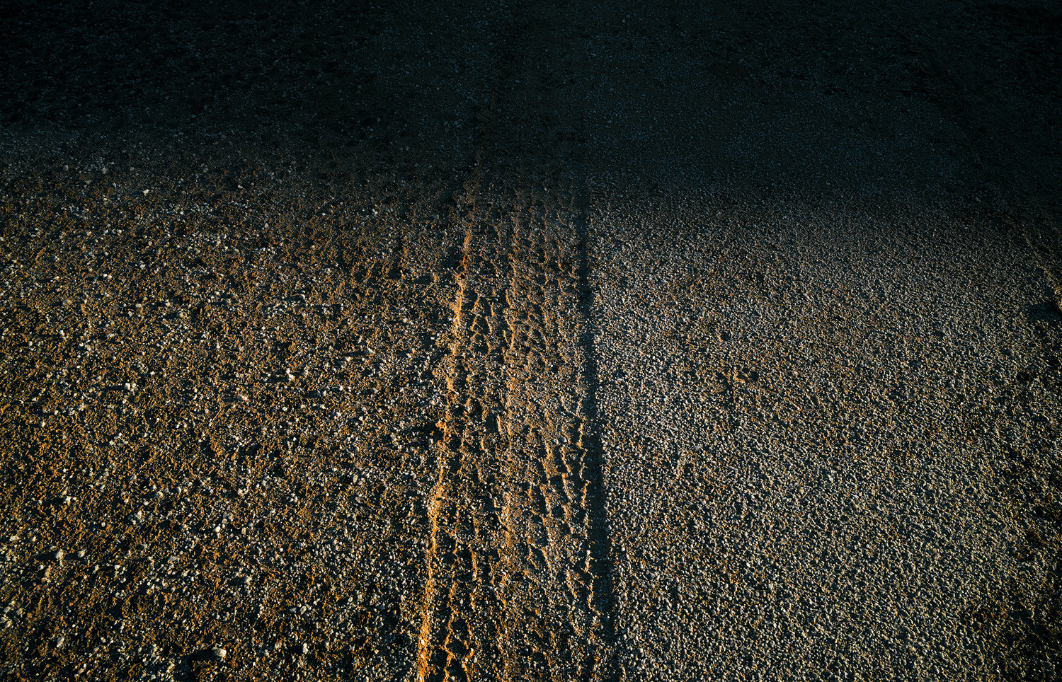 Mark Klett, Tire track on virgin desert, 2013